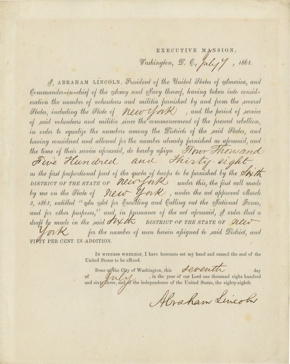 Abraham Lincoln's Order That Sparked the New York City Draft Riots of 1863