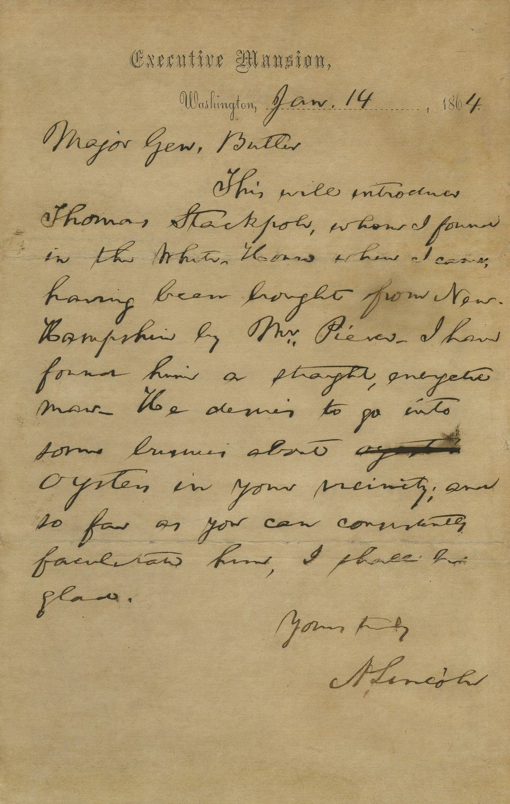 Abraham Lincoln Recommends a Franklin Pierce White House Appointee to General Benjamin Butler