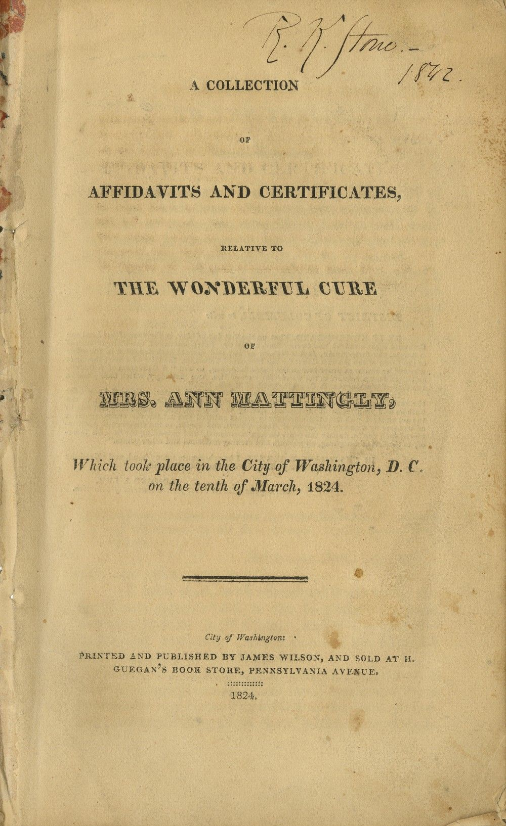 Abraham Lincoln's Family Physician, Robert K. Stone, Signed 1842 Book About a Miraculous Cure