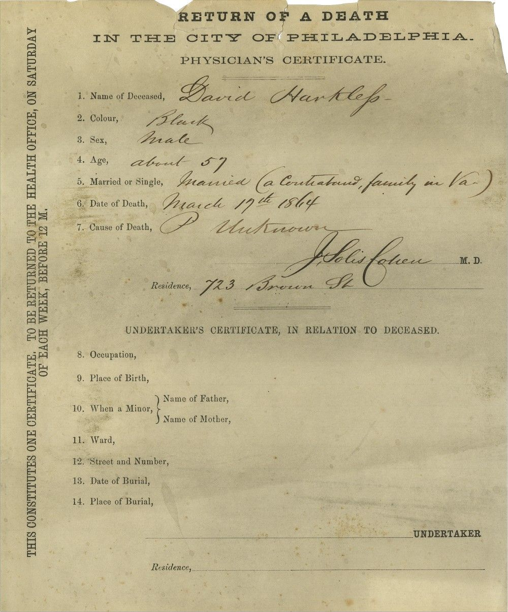 "Dr. Jacob Da Silva Solis Cohen Certifies the 1864 Death of a ""Contraband"" in Philadelphia"