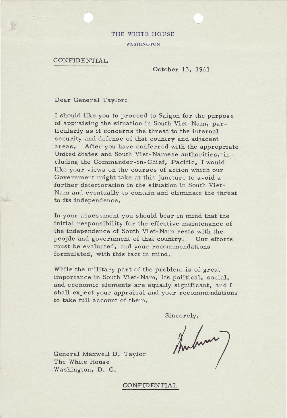 President Kennedy Sends General Maxwell Taylor to South Vietnam to Appraise the Situation