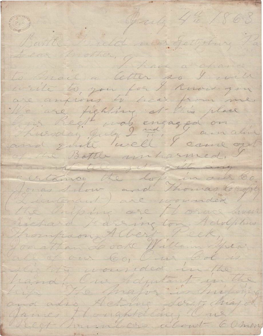 "Letter From Gettysburg Battlefield, July 4th, 1863: Union Soldier Hopes ""This Battle Will End the War"""