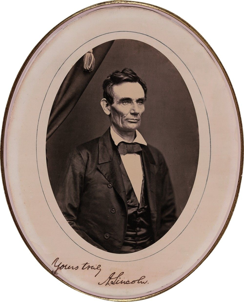 "Roderick Cole's 1858 Beardless Photo of Abraham Lincoln--Signed ""Yours Truly, A. Lincoln"""