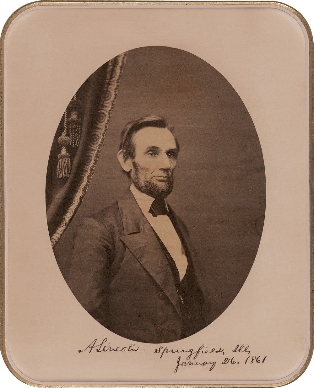 President-Elect Lincoln Grows His Beard: This Second Photograph, Signed, Depicts the Progress