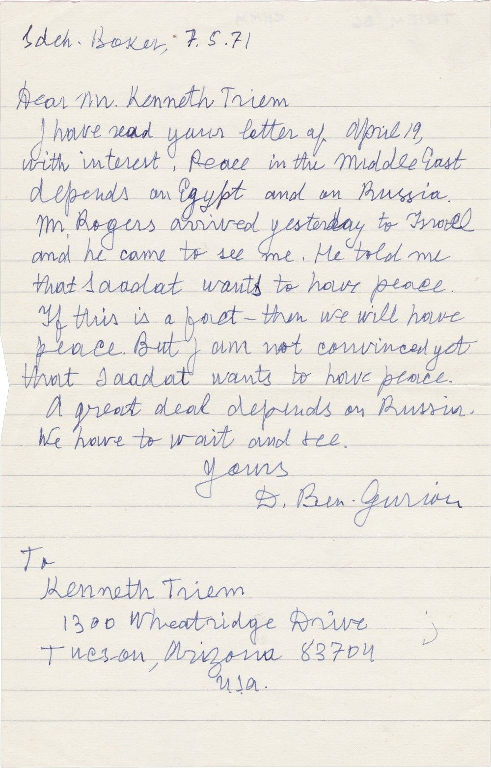 David Ben Gurion on Anwar Sadat's Wanting Peace in 1971: He Isn't Convinced