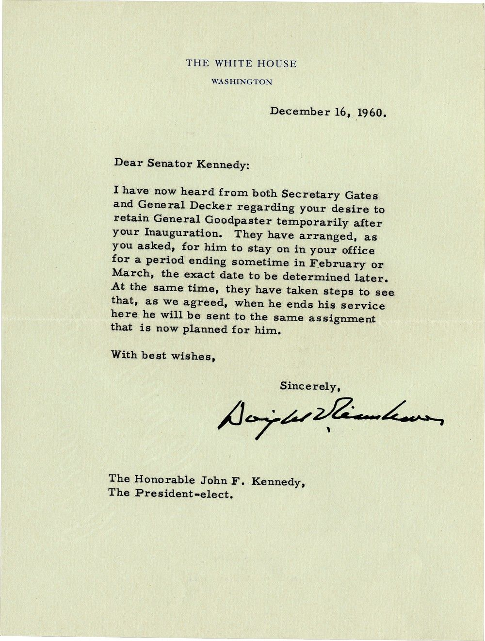 President Eisenhower Writes JFK a Chilly Letter After Losing the 1960 Election