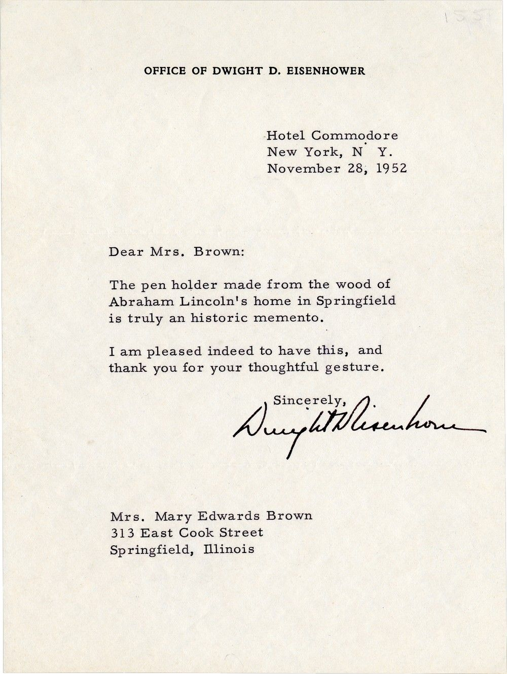 "President-Elect Eisenhower Thanks Mary Lincoln's Niece for the Gift of a ""Truly Historic Memento"""