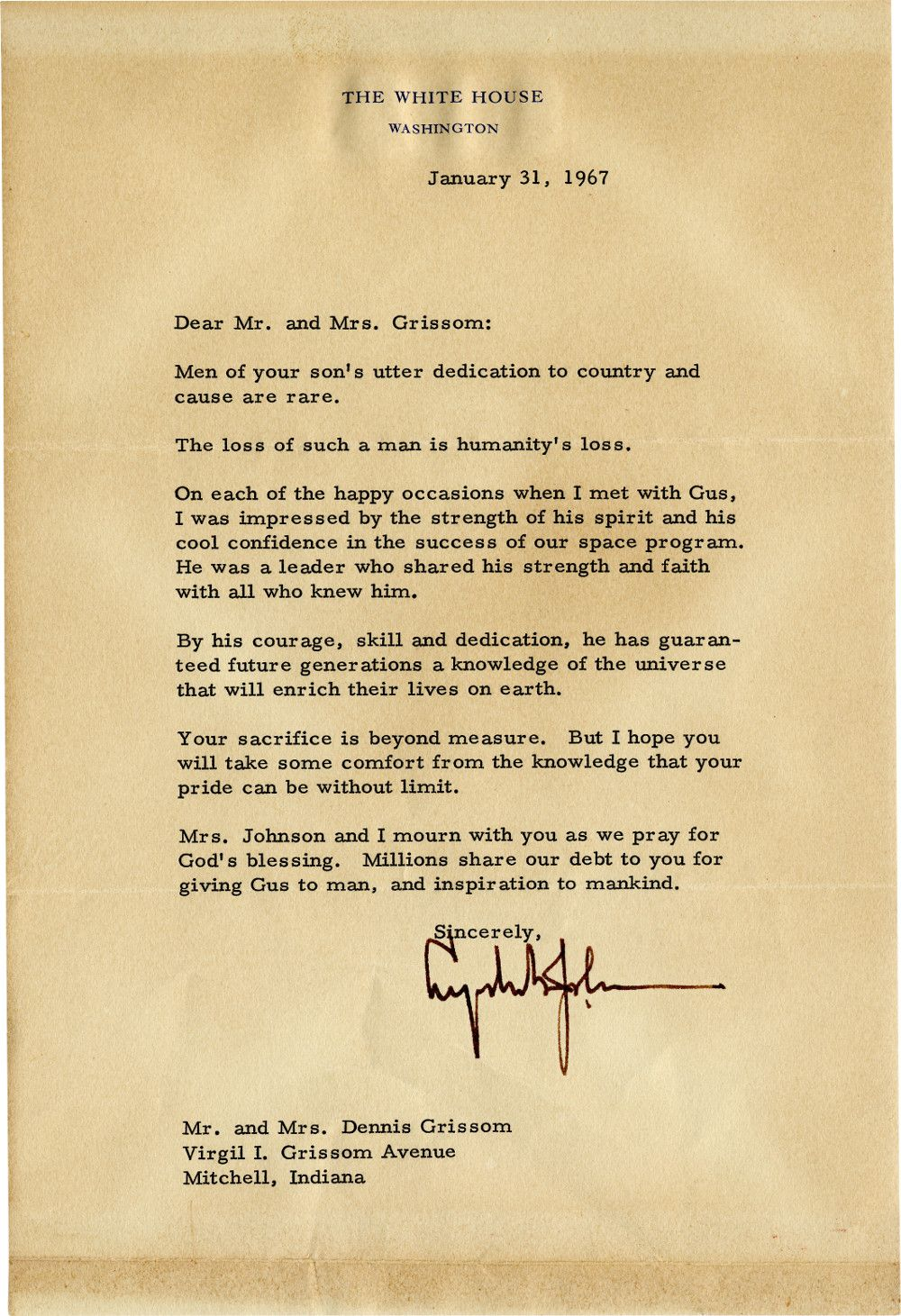 Lyndon B. Johnson Writes to the Parents of Astronaut Gus Grissom, Killed in the Apollo I Fire