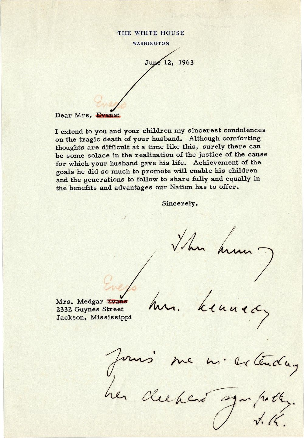 JFK's Drafted Letter to Medgar Evers' Widow, Myrlie, on Evers' Assassination