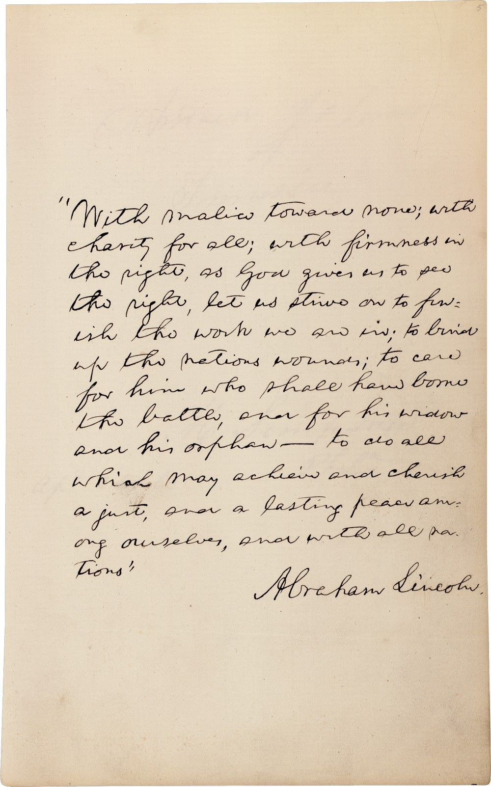 Lincoln's Second Inaugural Address Transcript & With Malice Toward None Quote in Autograph