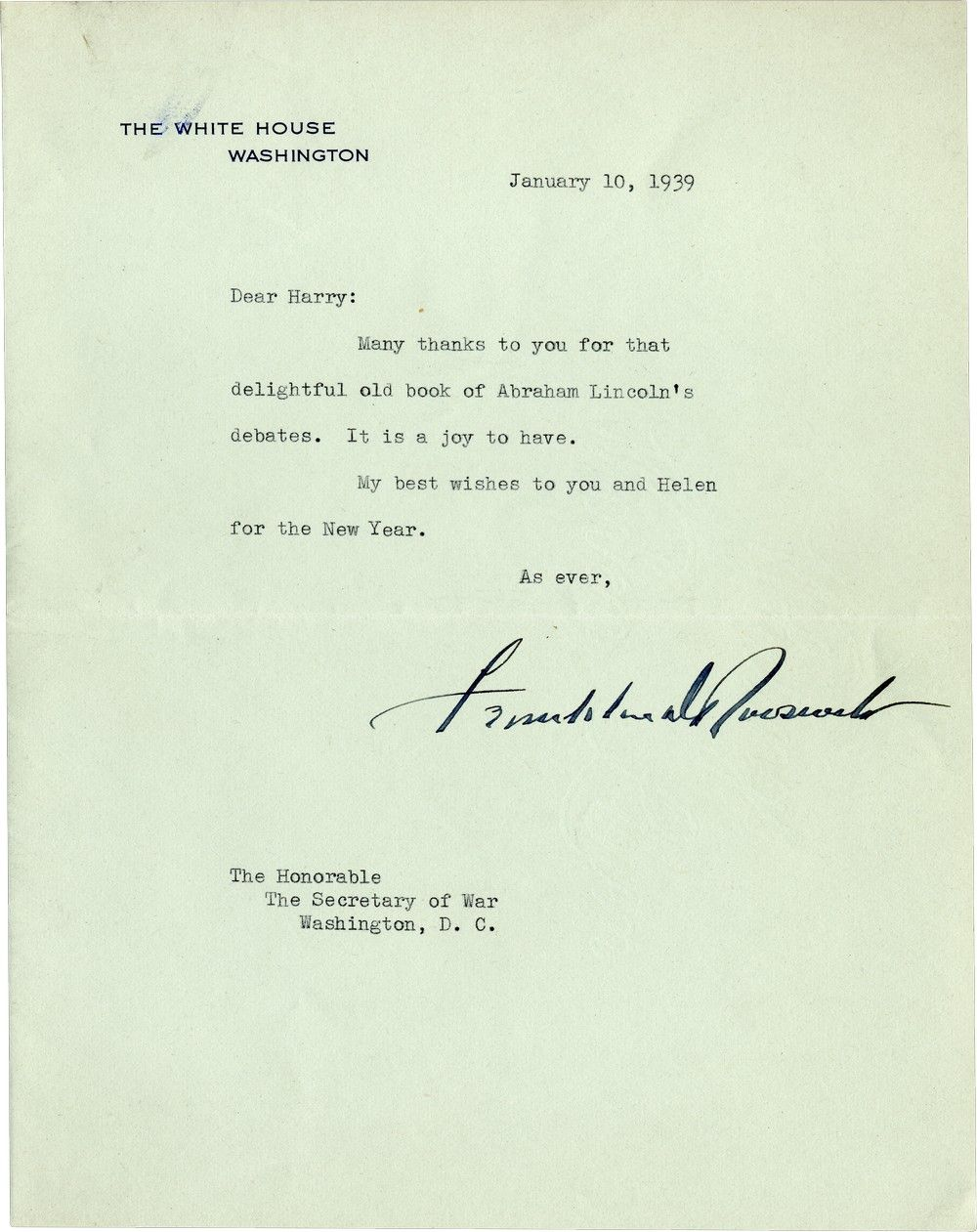 "Franklin D. Roosevelt Thanks His Secretary of War for a ""Delightful Old Book of Abraham Lincoln's Debates"""