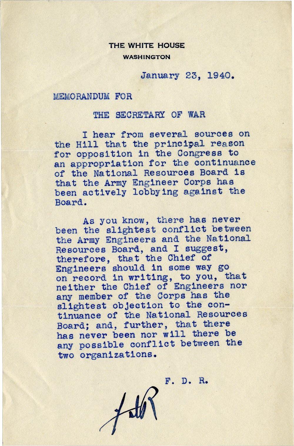President Franklin D. Roosevelt Adjudicates an Intergovernmental Turf War