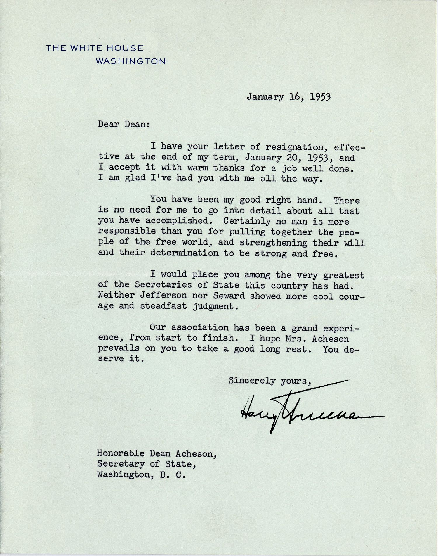 "Truman Accepts the Resignation of His ""Good Right Hand,"" Dean Acheson"