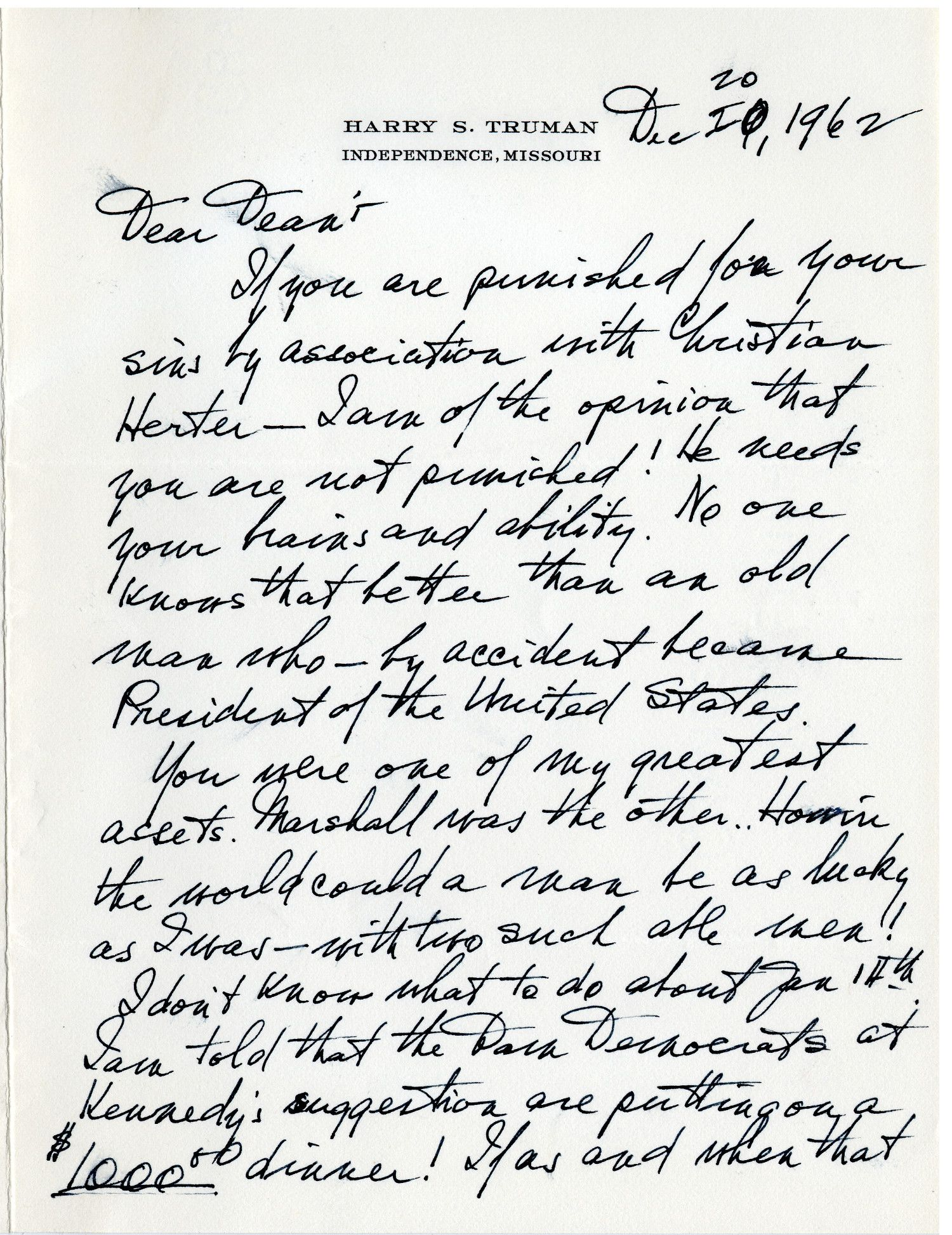 "Harry Truman Refers to Himself as an ""Old Man Who - By Accident Became President of the United States"""