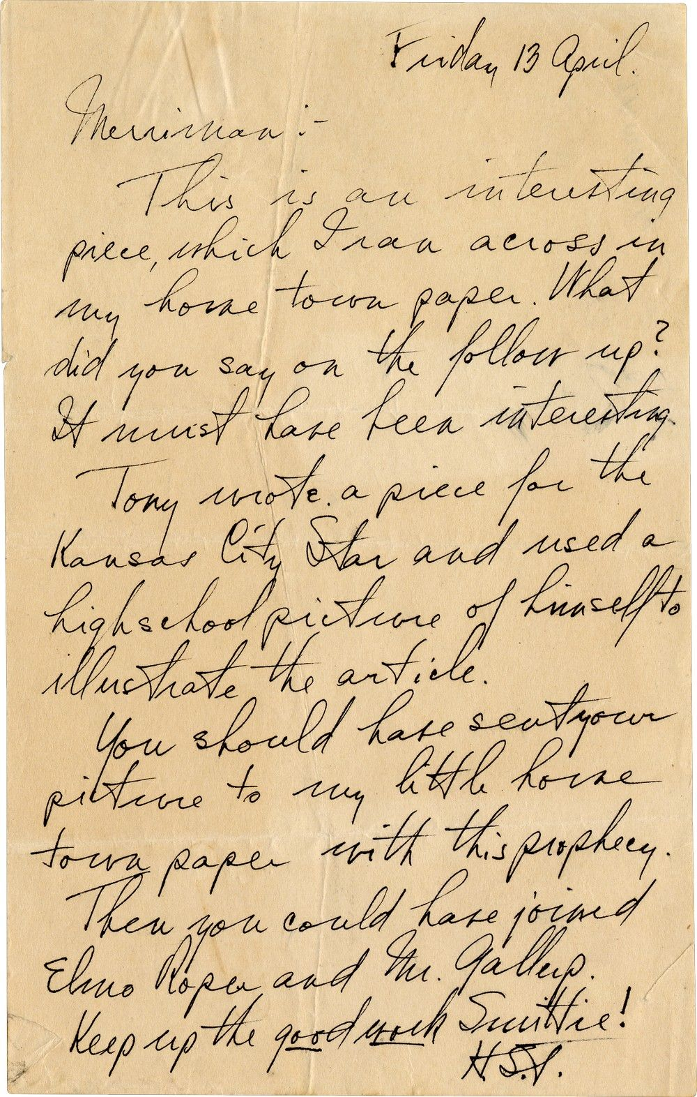 Two Days After Unleashing a Tempest by Firing MacArthur, President Truman Writes to a Journalist