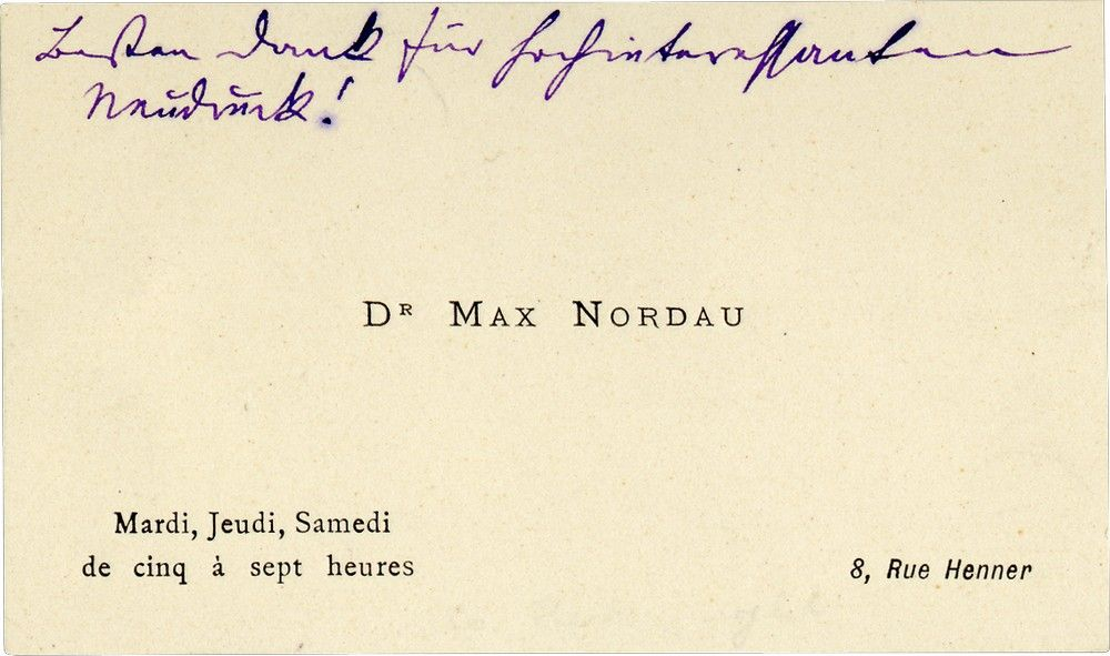 Max Nordau's Calling Card Bearing an Autograph Note