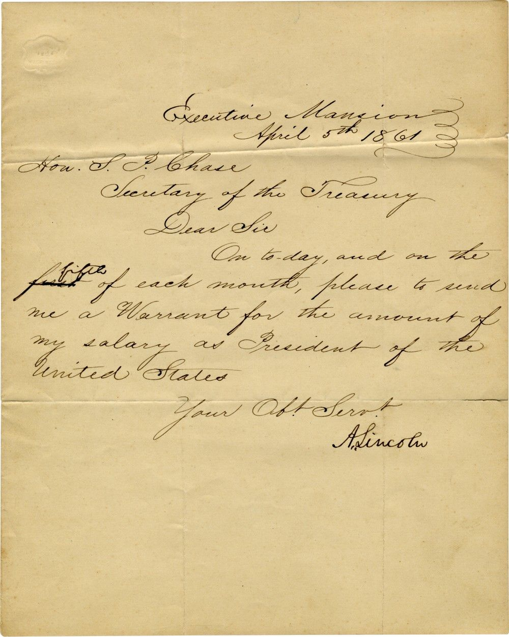 Abraham Lincoln Corrects His Presidential Salary Payment, Which Credits Him With Days Not Worked
