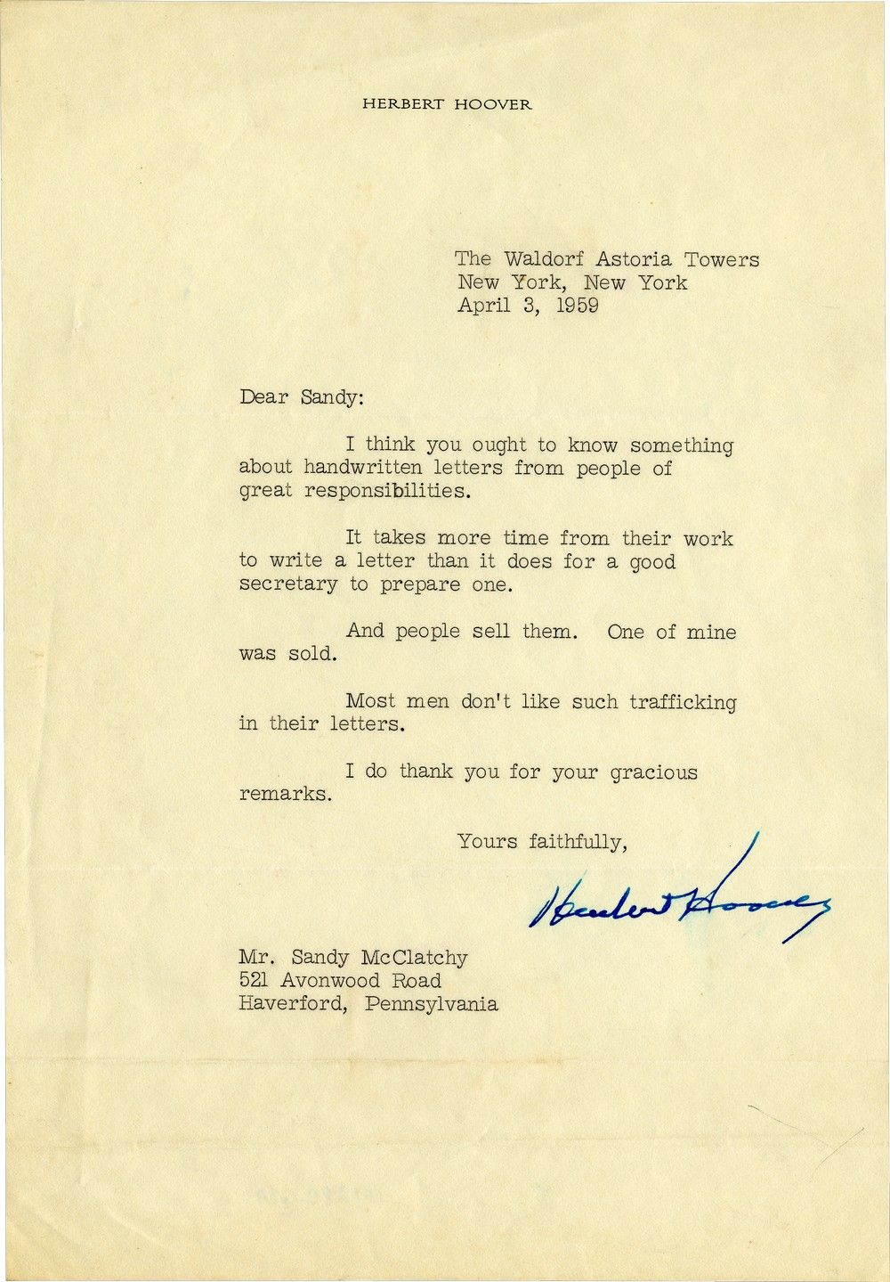 Important People, Hoover Explains, Don't Have Time to Write Longhand - Or Like Their Letters Being Sold