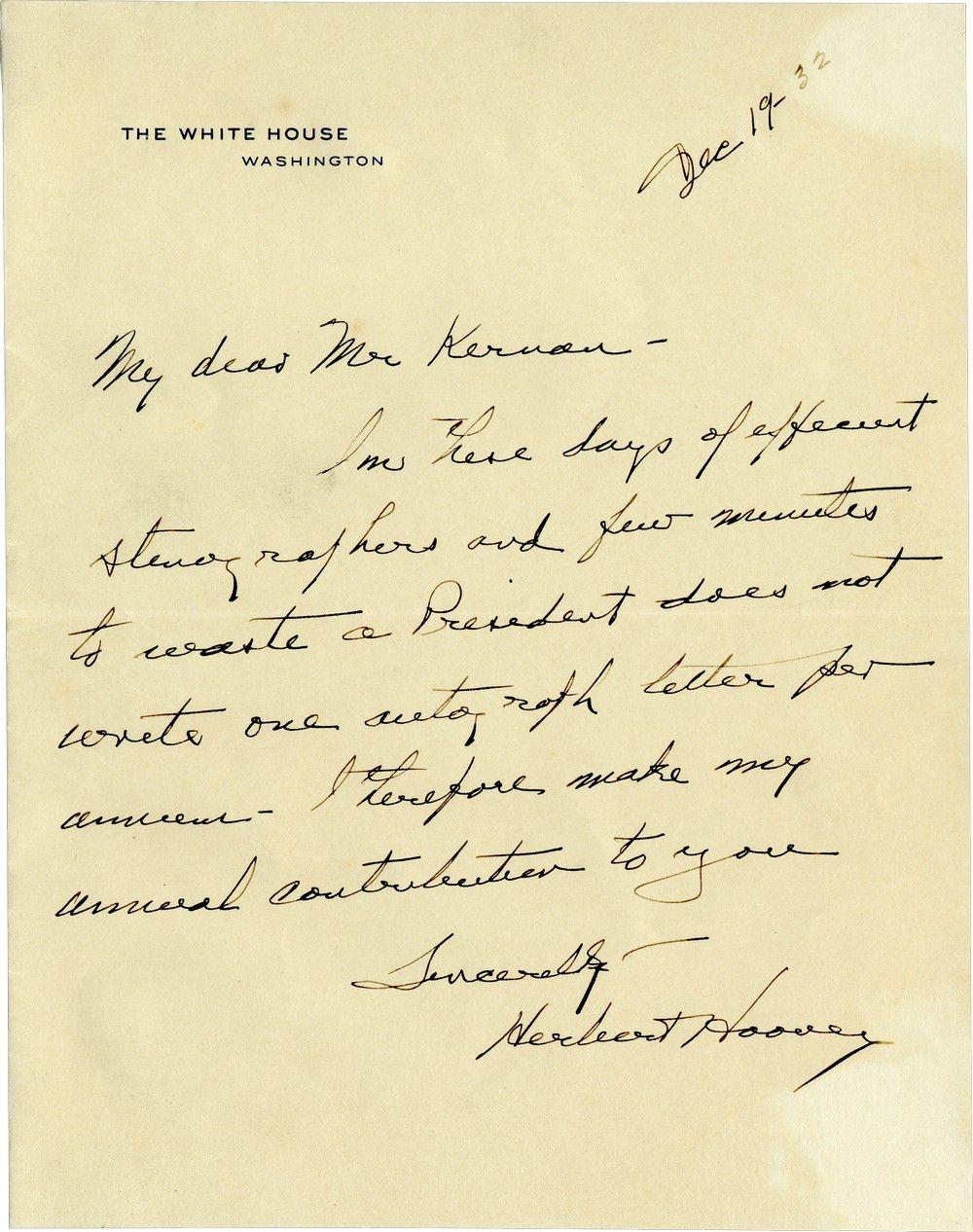 """Rare Herbert Hoover Letter as President: """"One Per Annum"""""""