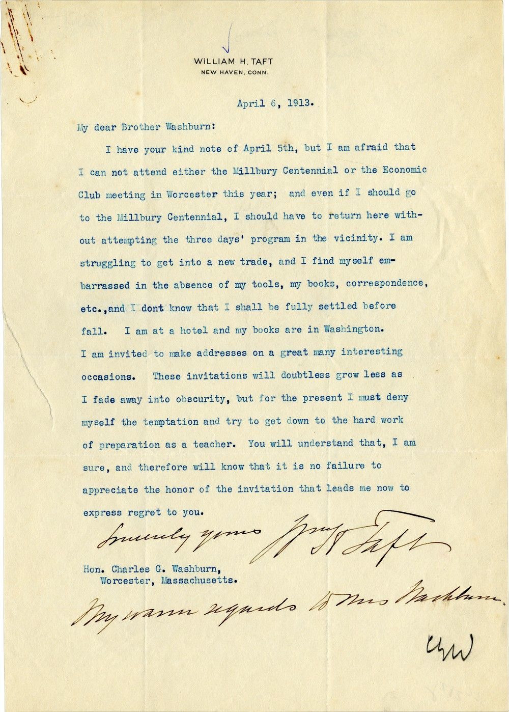"William Howard Taft Confesses He's ""Struggling to Get into a New Trade… Fading Away into Obscurity"""