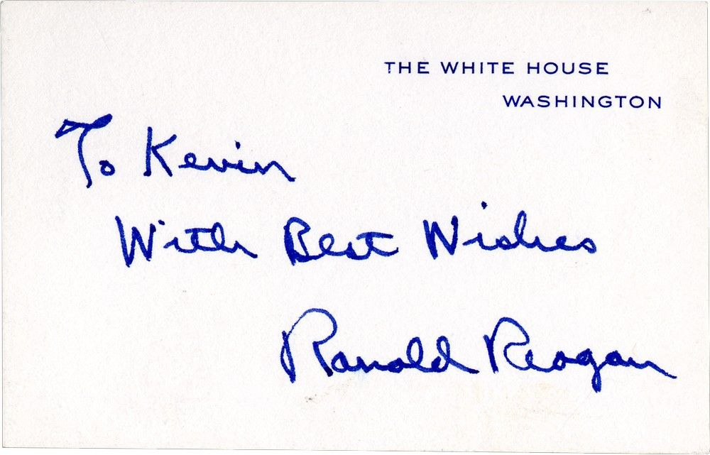 A Scarce Ronald Reagan White House Card Signed