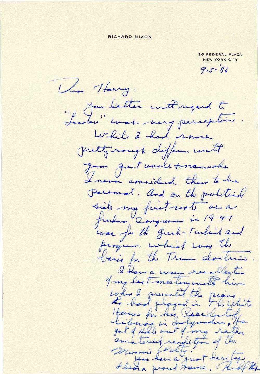 Richard Nixon, Loathed by Harry Truman, Speaks Well of Him