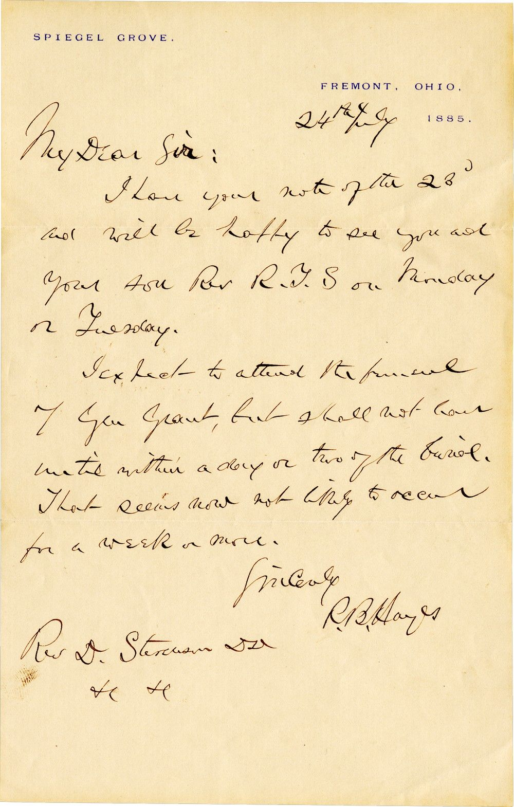 Rutherford B. Hayes Announces He Will Attend Ulysses S. Grant's Funeral