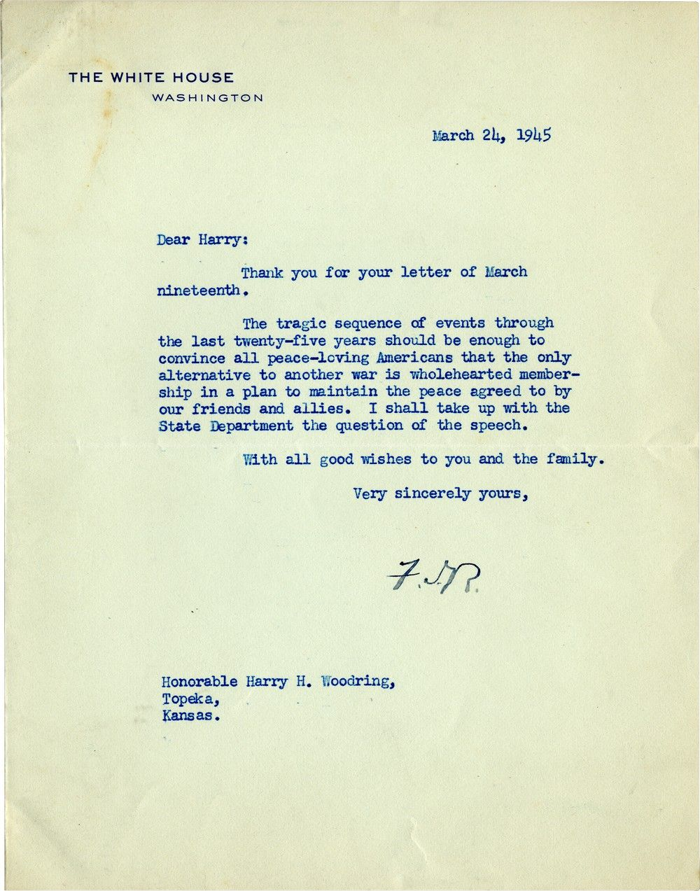 Hiding Two Deadly Illnesses, Franklin D. Roosevelt Dreams of a World Organization for Peace: The UN