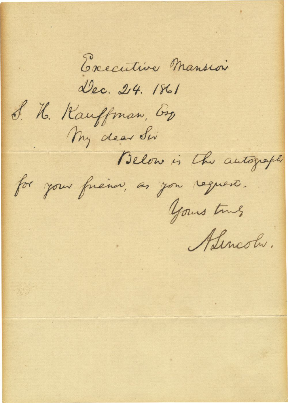 Abraham Lincoln Sends His Autograph as a Favor to His Jewish Friend Sigismund Kaufmann