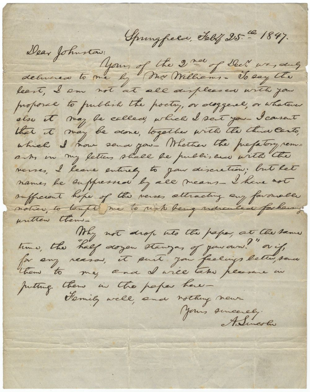 "Abraham Lincoln Arranges for the Anonymous Publication of His Famous Poem ""My Childhood Home I See Again"""