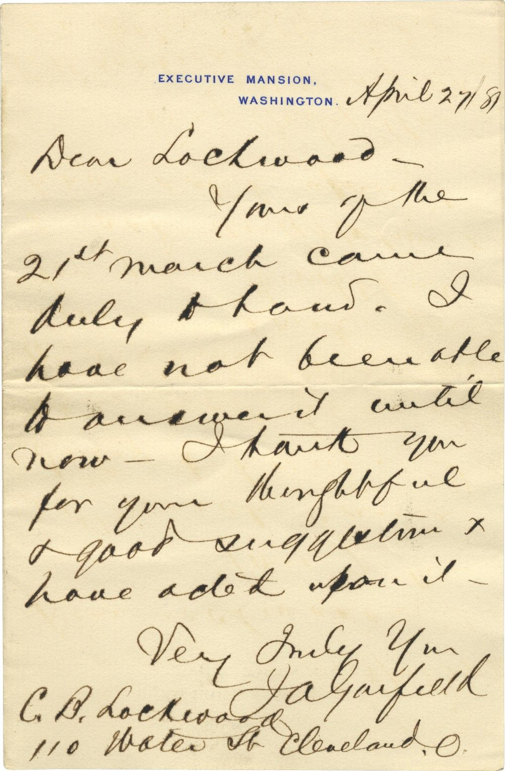 Rare President James A. Garfield Letter in Office