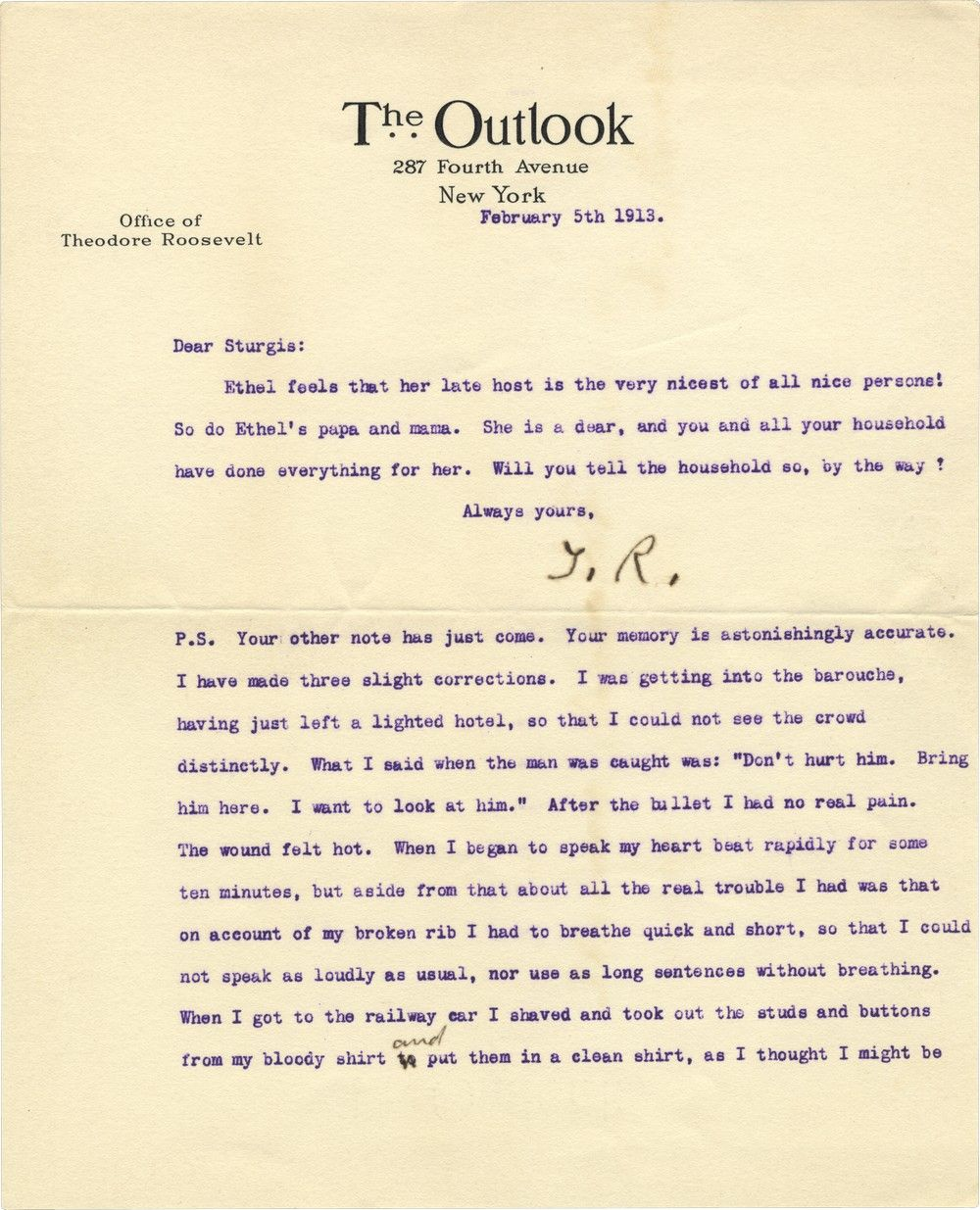 Theodore Roosevelt Comments On, and Then Annotates, a Manuscript Detailing the Attempt Made on His Life