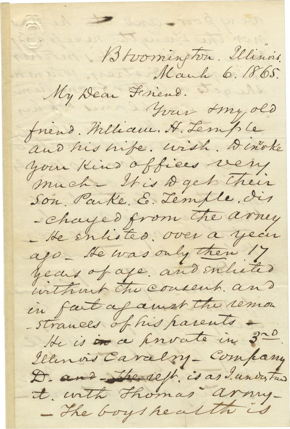Three Days Before He is Assassinated, Abraham Lincoln Orders the Discharge of a Sickly Boy from the Army