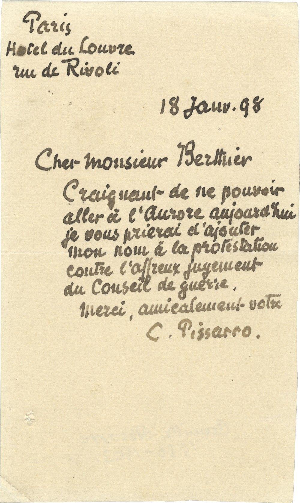 Camille Pissarro Protests Alfred Dreyfus's Conviction