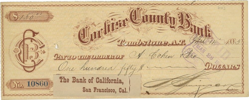 Check of Jewish-Owned Cochise County Bank in Tombstone Sends Money to and from Jewish Merchants