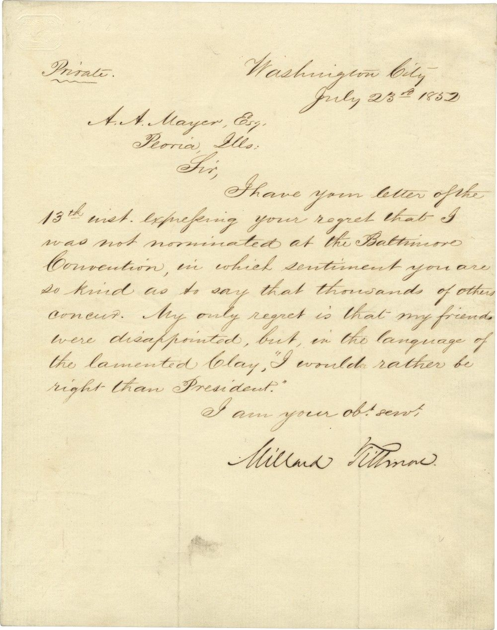 """Millard Fillmore in Defeat: """"I Would Rather be Right Than President"""""""