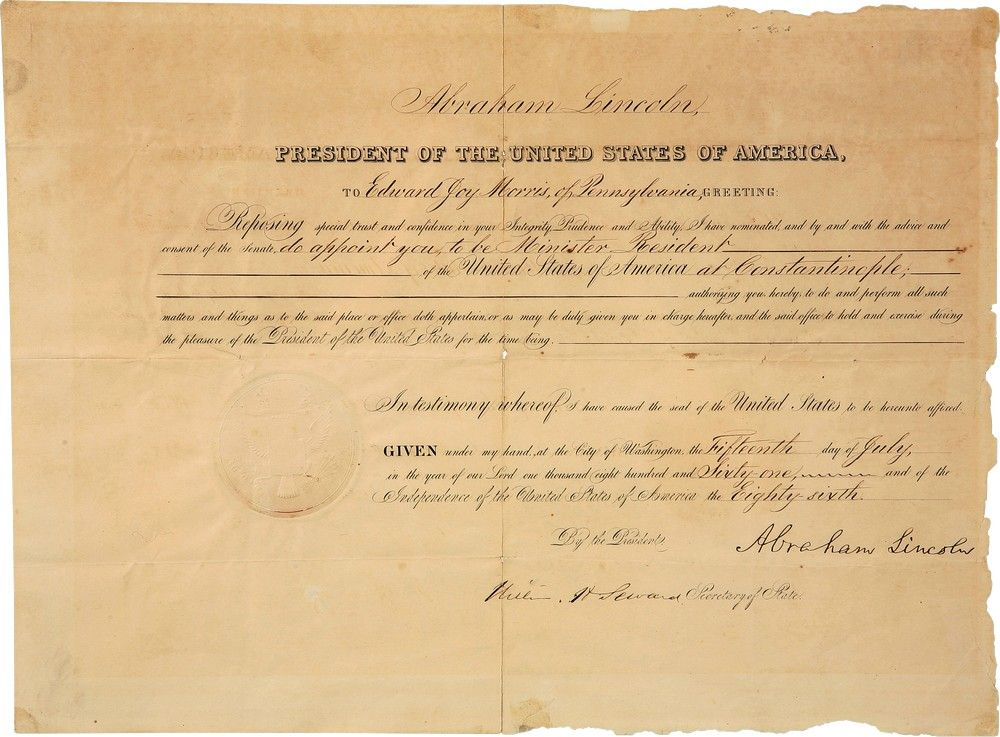 Abraham Lincoln Appoints Edward Joy Morris Minister to the Ottoman Empire - and by Extension, Palestine