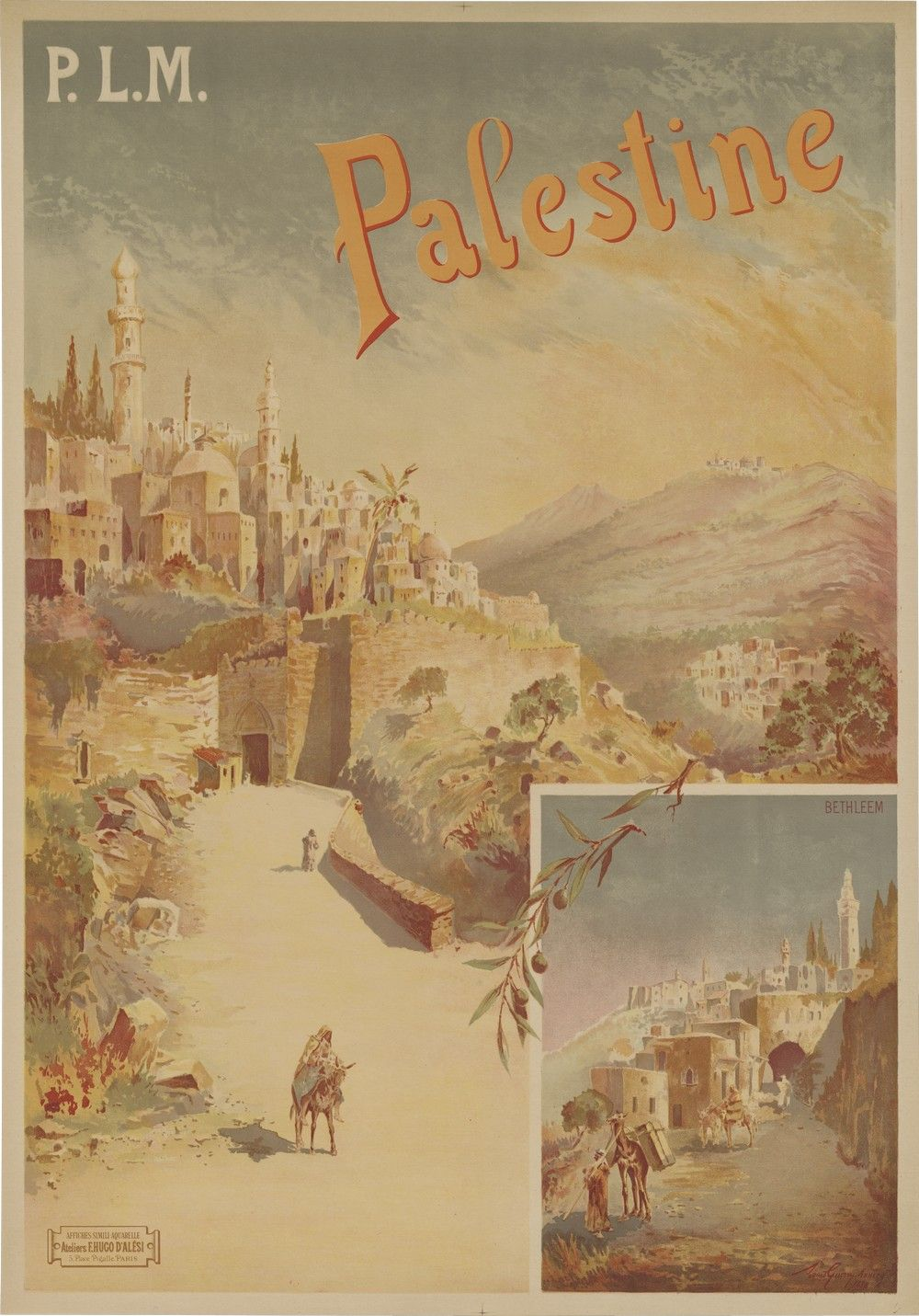 1898 French Railway Travel Poster Advertising Palestine