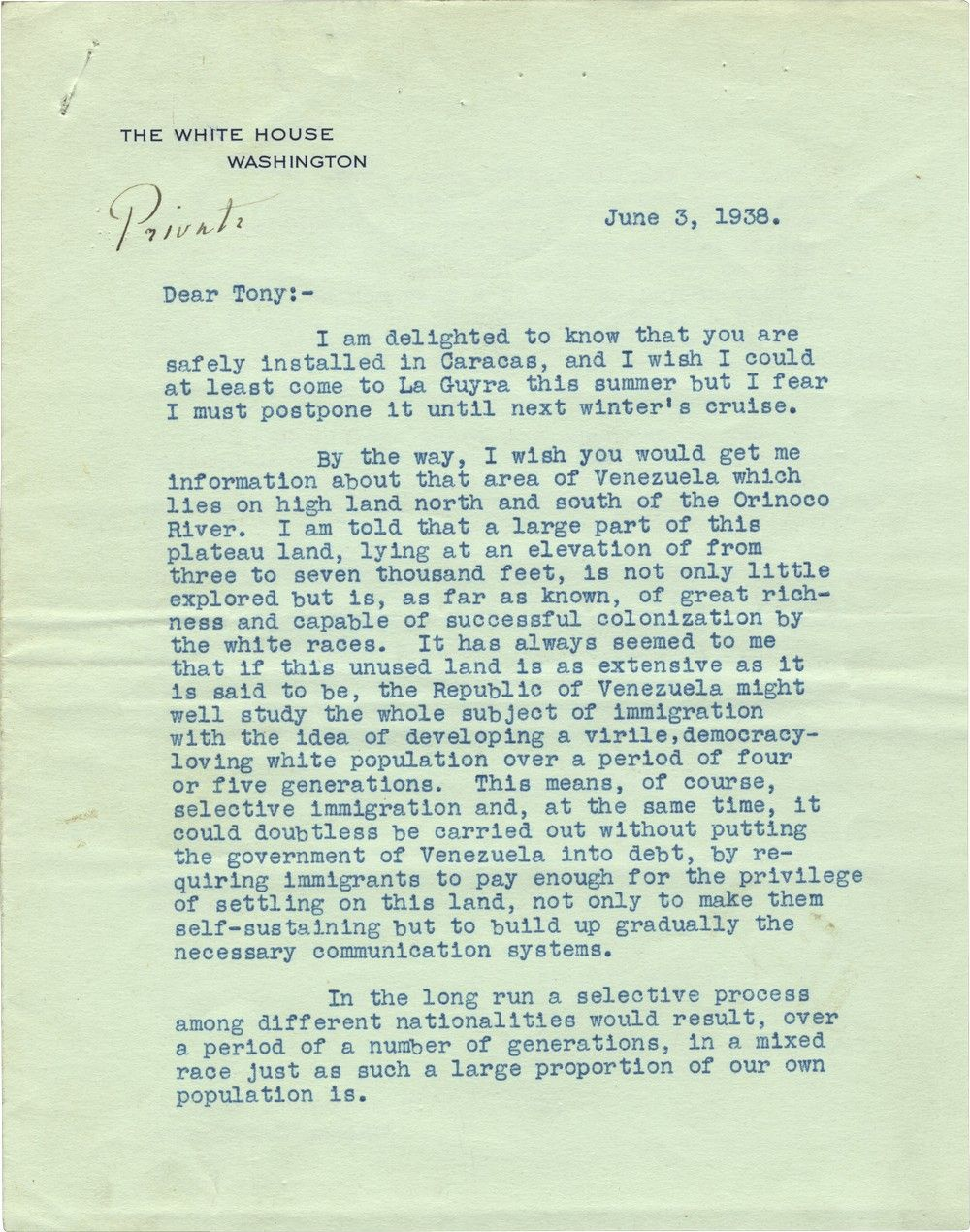 """FDR's 1938 Plan to Settle Jewish and """"White"""" Refugees in the Unexplored Highlands of Venezuela"""