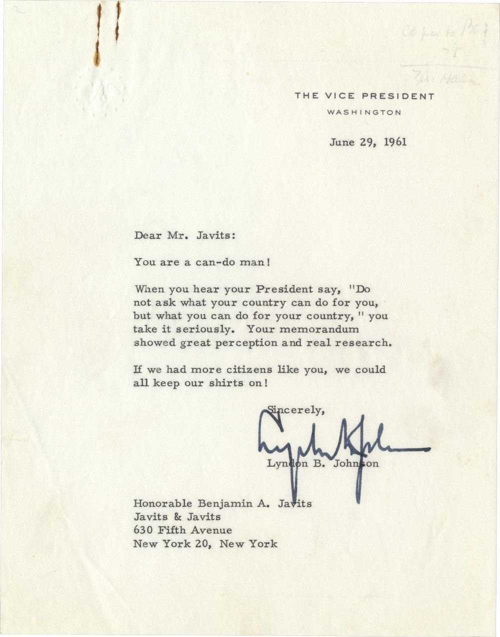 "Vice President Johnson Quotes JFK's Famous ""Ask Not What Your Country Can Do for You"" Challenge"