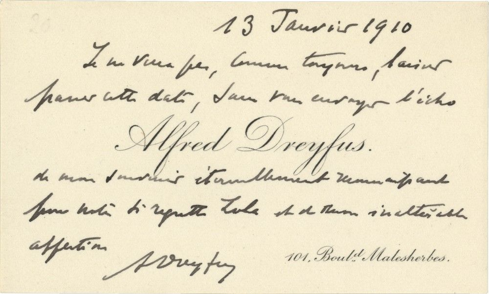 "Alfred Dreyfus Writes to Emile Zola's Widow to Commemorate the Anniversary of the Publication of ""J'Accuse"""