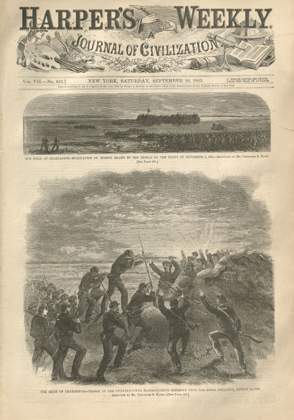 Harper's Weekly With Illustrated Story About Five Union Soldiers, Including a Jew, Executed for Desertion