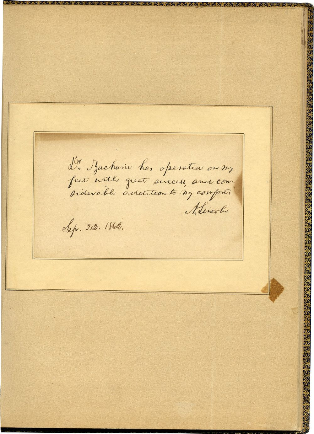 Lincoln's Second Testimonial for Issachar Zacharie, His Mysterious Jewish Chiropodist - And Personal Spy