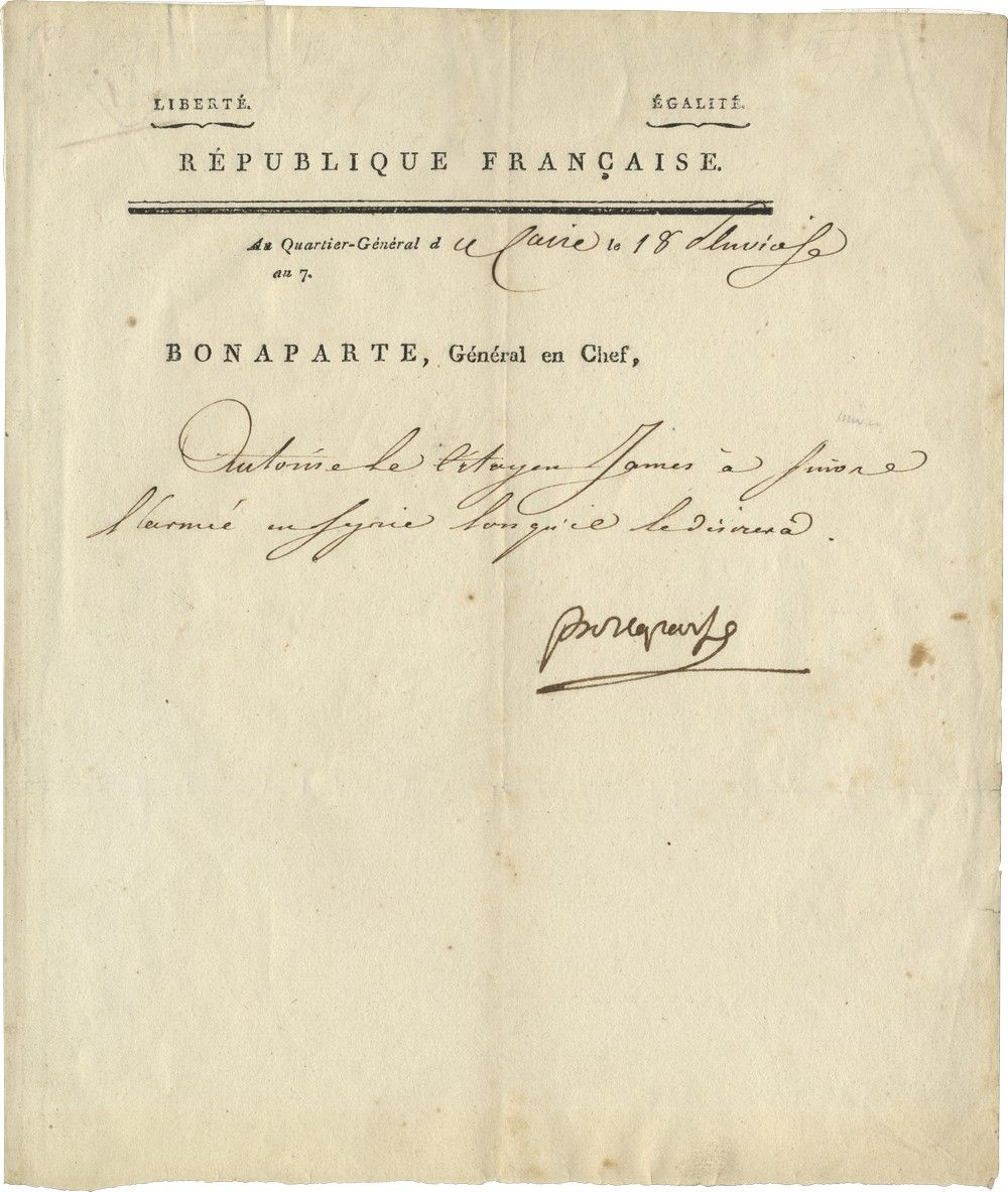 Napoleon Bonaparte Authorizes a Soldier to Join the Egyptian Campaign in Syria