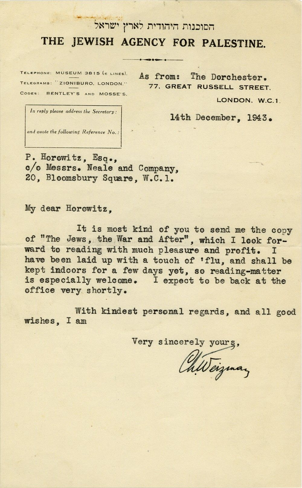 "Chaim Weizmann Thanks British Zionist Leader for a Copy of His Book, ""The Jews, the War and After"""