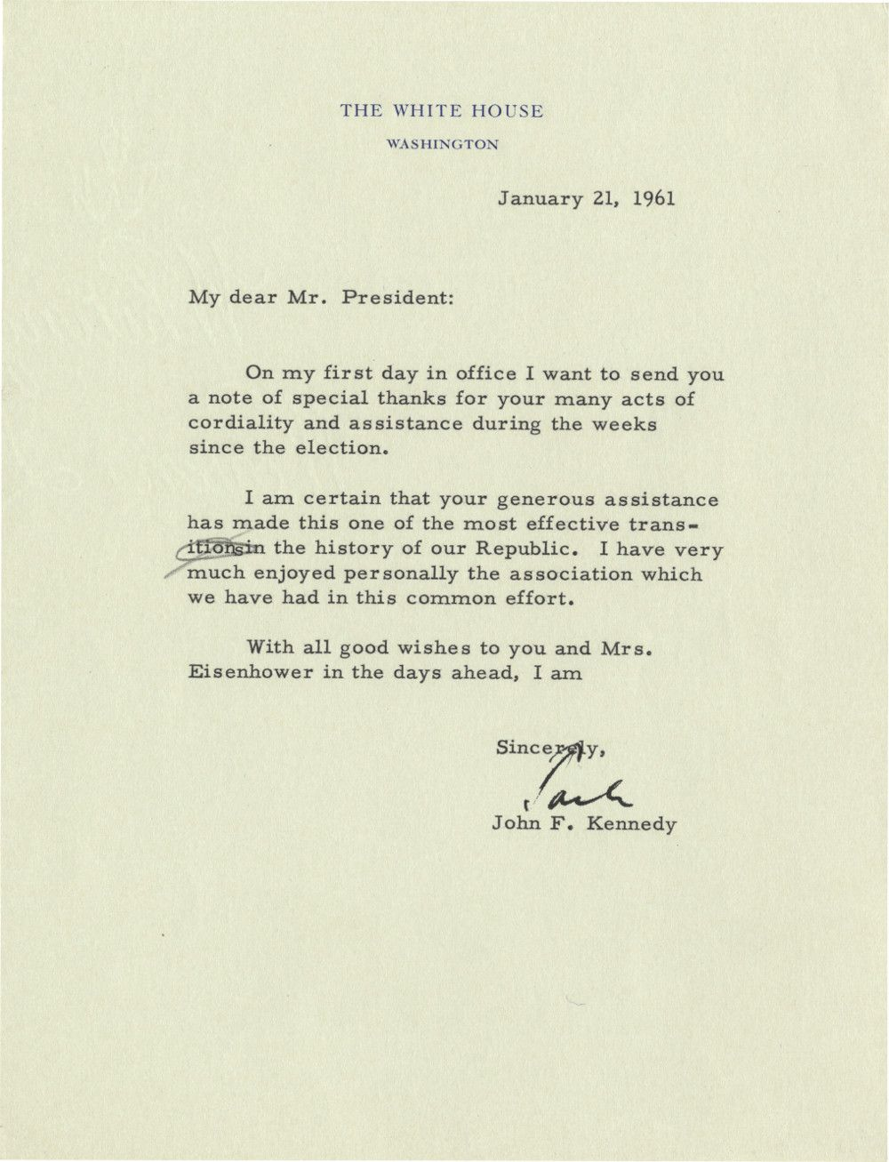 "On His First Day in Office, ""Jack"" Kennedy Thanks His Predecessor, Eisenhower, for a Smooth Transition"