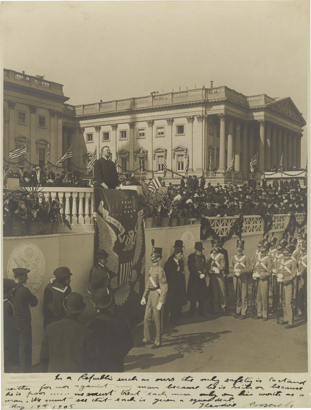 """Theodore Roosevelt Inscribes Photo of His 1905 Inaugural Address With His Keystone """"Square Deal"""" Credo"""