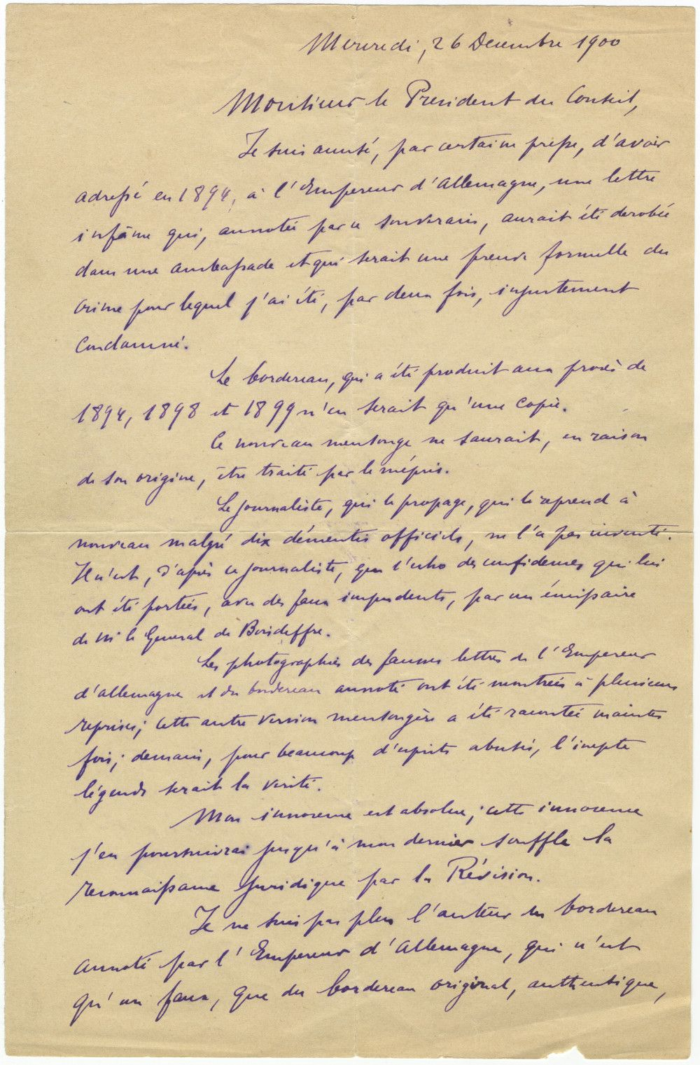 Alfred Dreyfus Reviews Case Against Him, Proclaims His Innocence, and Demands Another Trial
