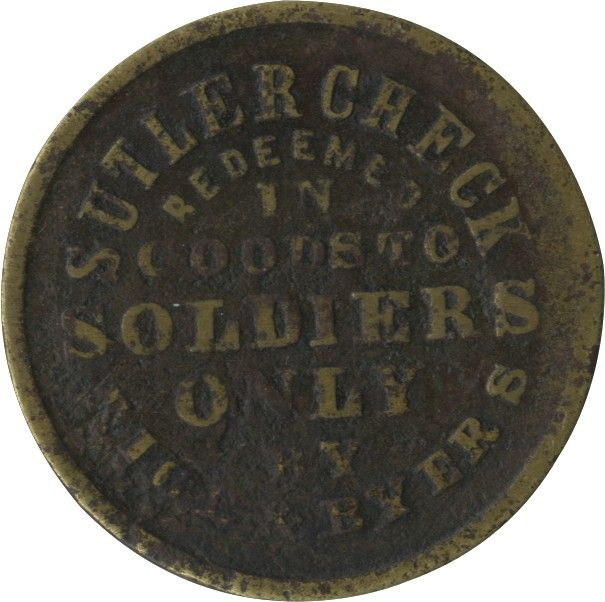 "Excessively Rare ""Rice and Byers"" One Dollar Sutler Token from Fort Sill in the Indian Territory"