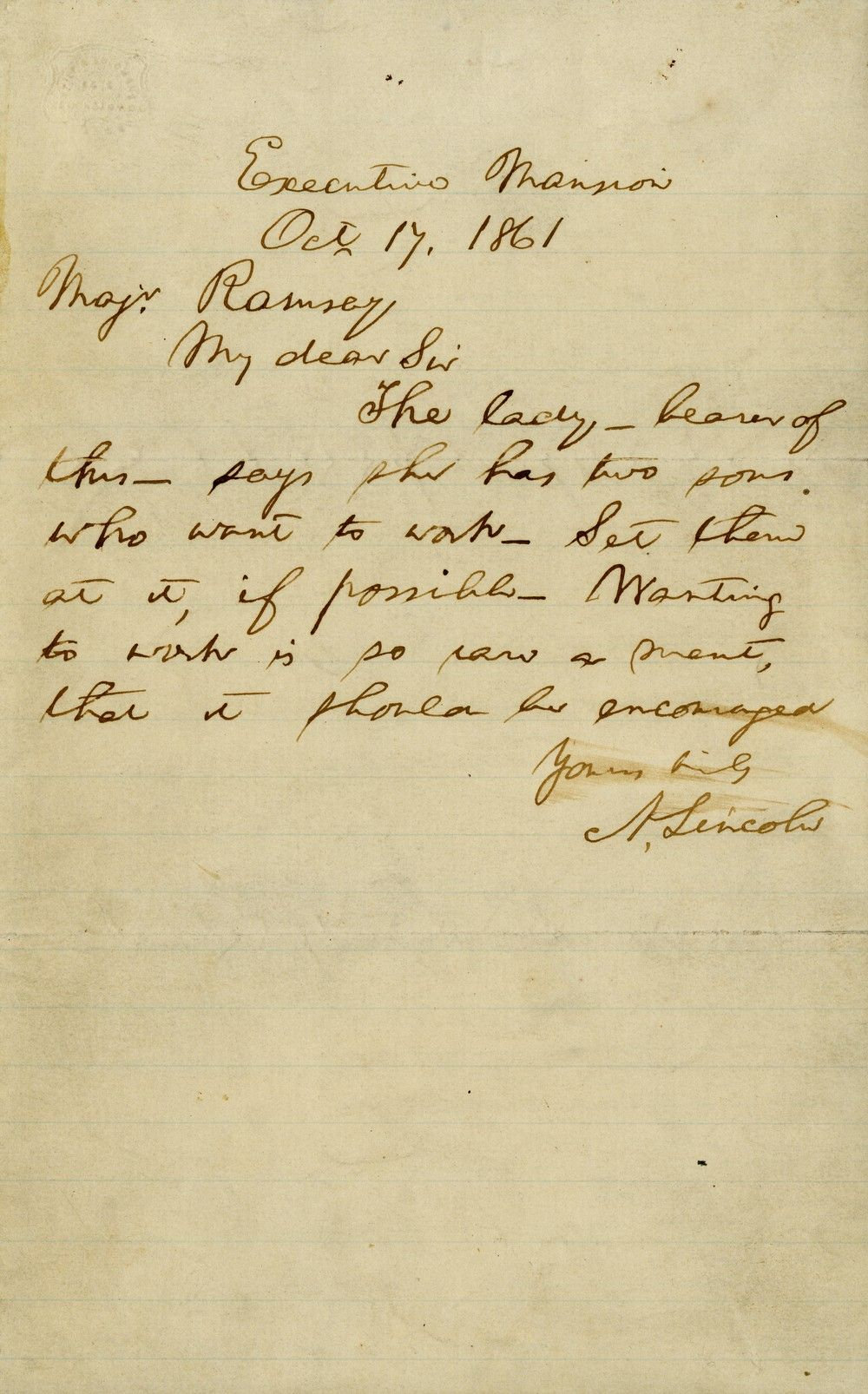 "Abraham Lincoln's Celebrated ""Wanting to Work"" Letter"